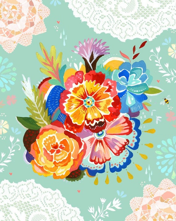 Mountain Bouquet Floral Art Print  | Colorful Wall Art | Katie Daisy | 8x10 | 11x14