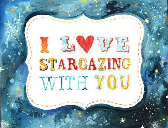 I Love Stargazing With You art print | Celestial Wall Art | Hand Lettering | watercolor print