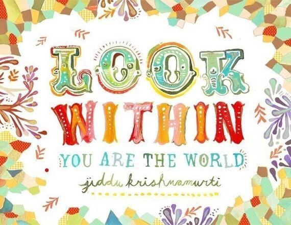 Look Within art print   Krishnamurti Quote   Inspirational Wall Art   Hand Lettering   watercolor print