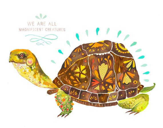 Magnificent Creature Box Turtle Art Print Watercolor