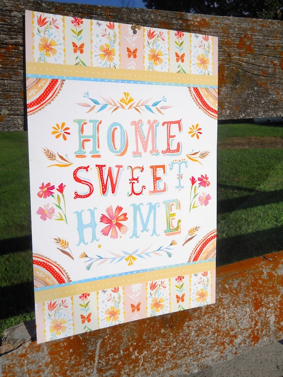Home Sweet Home art print   Hand Lettered Wall Art   Country Decor