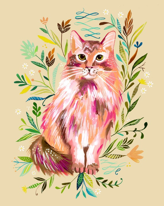 Prairie Cat Art Print | Watercolor Painting | Nursery Decor | Cat Wall Art | Katie Daisy | 8x10 | 11x14