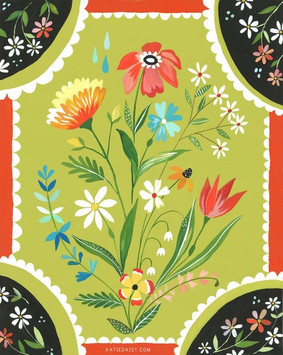 Meadow Flowers paper print | Floral Wall Art Painting