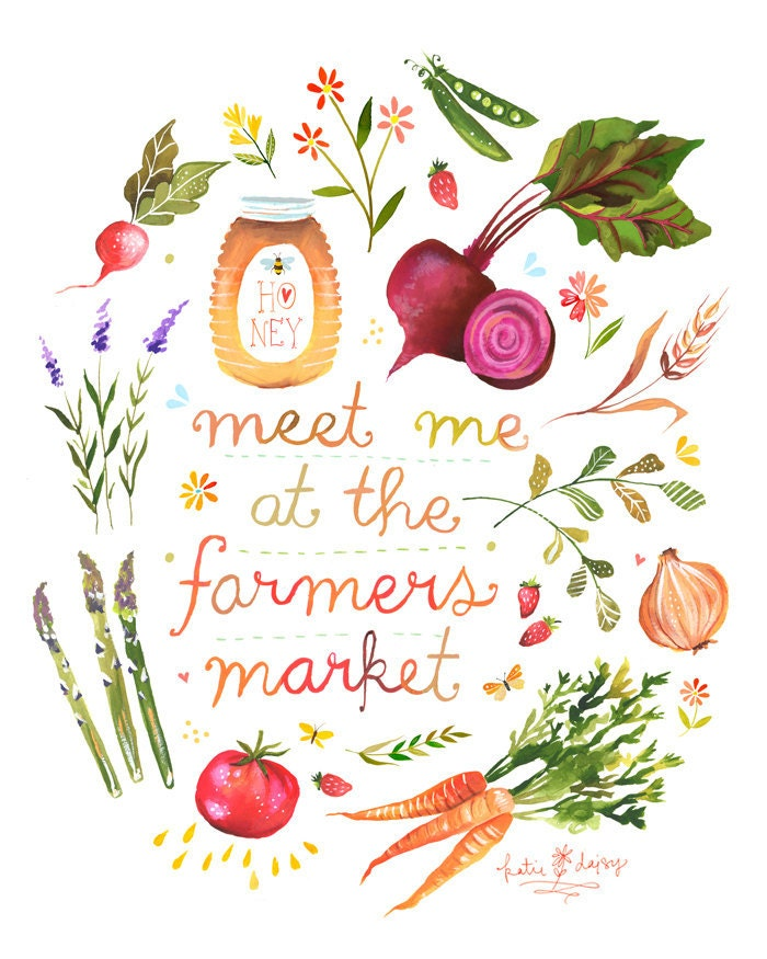 Cute Food Quotes Tumblr: Meet Me At The Farmers Market Print Watercolor Quote