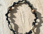 Black Hemp Macrame Necklace with Wooden Beads