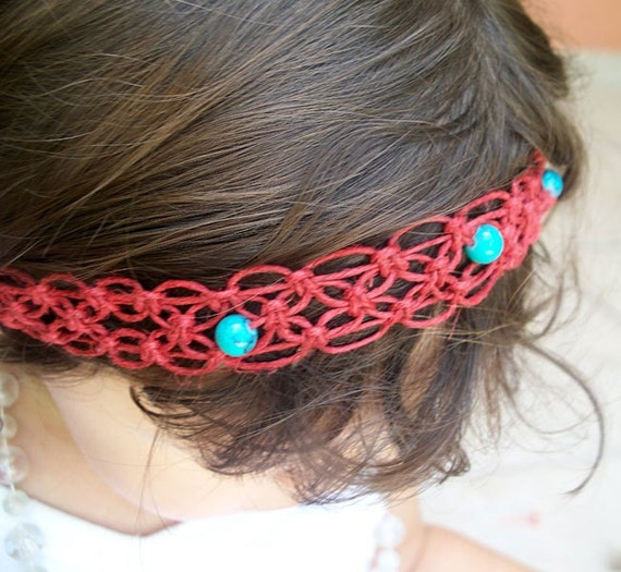 Red Macrame Hemp Headband with Turquoise Beads