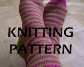 Toe-up sock knitting PDF pattern... perfect for self striping yarns