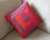 Hand Knit Log Cabin style throw pillow / cushion