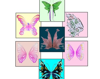 "Digital Collage, Etheral Angel, Butterfly, Feather and Fairy Wings Collage,  1"" x 1"" Instand Download Collage,  Printable Images"