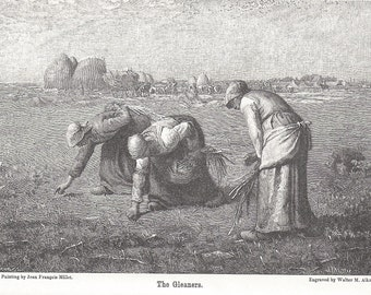 Antique Wood Engraving Digital Copy, 1897 Engraving of The Gleaners, Vintage Wood Engraving by Walter M. Aikman, Instant Download