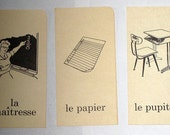 3 Vintage French Flash Cards School Themed - Teacher, Desk, Paper-  for Altered Art, Collage, Scrapbooking, Crafts, etc.