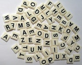 64 Square Plastic Letter Tiles for Altered Art, Collage, Assemblage, Crafts, etc.