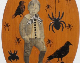 Halloween Plaque - Evil Boy w/ Spiders and Skulls
