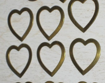 Brass Heart Findings for Altered Art, Collage, Jewelery Making, Crafts