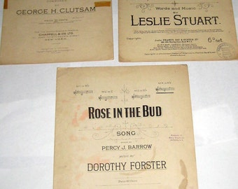 3 Pieces  Vintage Sheet Music for Piano - for Crafts, Collage,  Papercrafting, etc