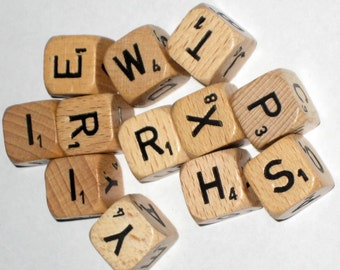 14 Vintage  (1968) Scrabble Letter Cubes  for Altered Art, Collage, Assemblage, Crafts, etc.