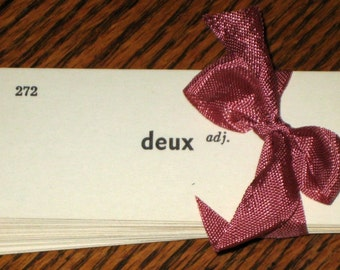 50 Vintage French Vocabulary Cards  - Flash Cards - for Altered Art, Collage, Tags, etc.