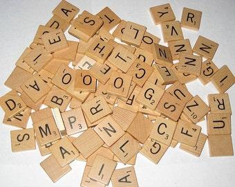 100  Vintage (1976) Wooden Scrabble Letter Tiles for Altered Art, Collage, Scrapbooking, etc.