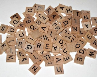 100  Wooden Scrabble Letter Tiles  (1999) for Altered Art, Collage, Scrapbooking, etc.