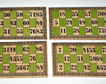 4  Antique McLoughlin Lotto Cards for Altered Art, Collage, Scrapbooking, etc.