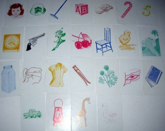 25 Vintage Language Picture Flash Cards - Playing Card Size
