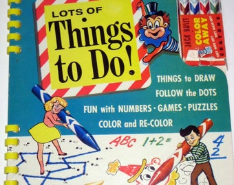 Vintage (1958) Wipe Off Game and Coloring Book