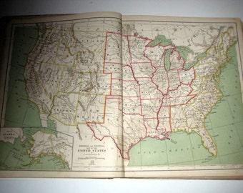 Antique (1870) School Book -  Intermediate Geography No. 2  w/ Beautiful Maps
