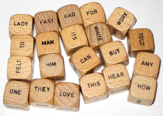 21 Vintage Scrabble Word Cubes for Altered Art, Collage, Assemblage, Crafts, etc.