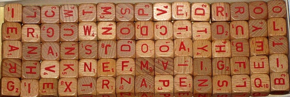 75 Vintage (1970) Red Letter Cubes for Altered Art, Collage, Assemblage, Crafts, etc.