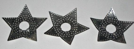 3 Vintage Tin Christmas Tree Light Reflectors - Stars - for Reflecting or Repurposing