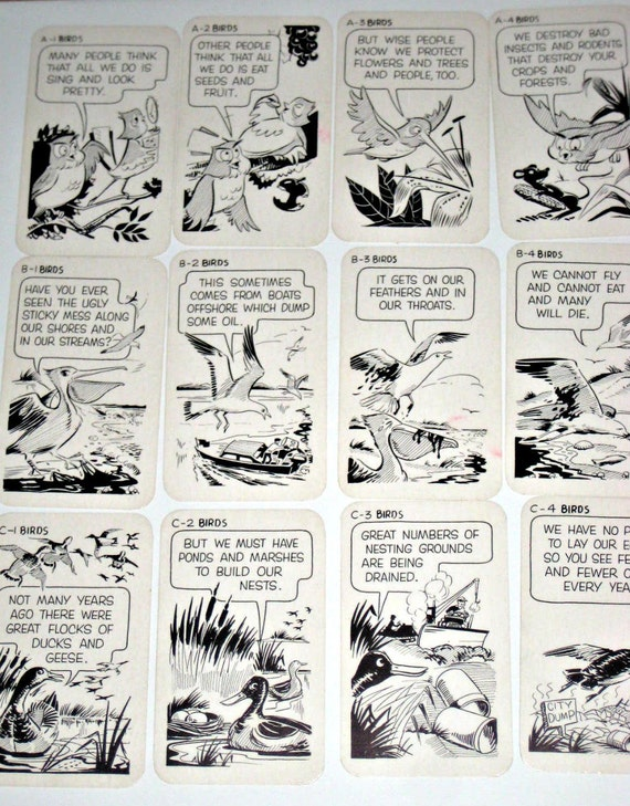 Vintage (1962) Comic Bird Themed Card Game with French Poems