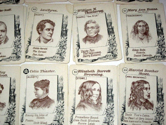 Antique (1906) McLoughlin Bros. Card Game -  Game of Authors