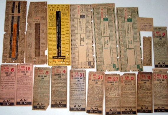 Vintage (1940s) Railroad Train Tickets -  Ephemera for Altered Art, Collage, etc.