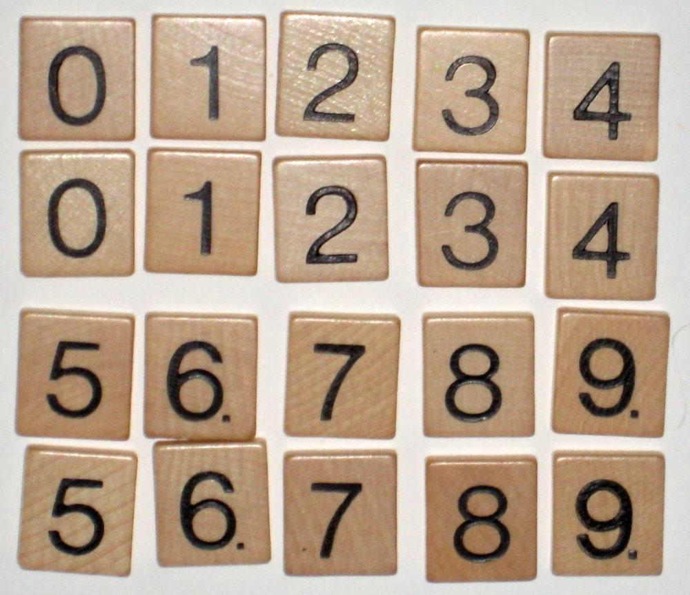 Vintage Scrabble Like Number Tiles For Altered Art Collage