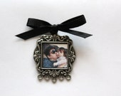 Square Damask Detailed Photo Frame Bouquet Charm
