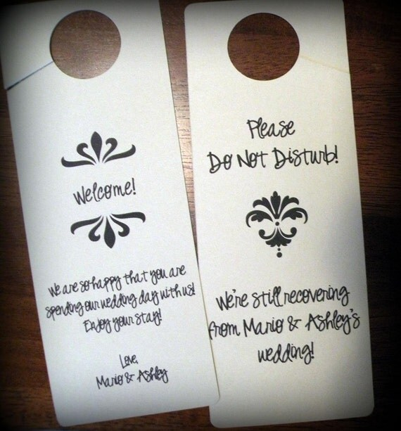 Door Hangers for Out of Town Wedding Guests - Standard Design