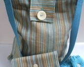 knitting bag with needle and accessory cases in aqua and brown