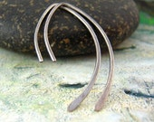 Simple silver earrings, Medium sterling silver Zen hoops, minimalist earrings.