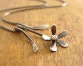 Flower necklace, sterling silver flower pendant, garden jewelry, dainty and feminine.