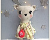 petite cat/ linen dress & felt pouch.