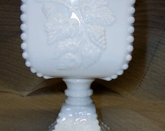Westmoreland Grape Milk Glass Compote/Candy Dish