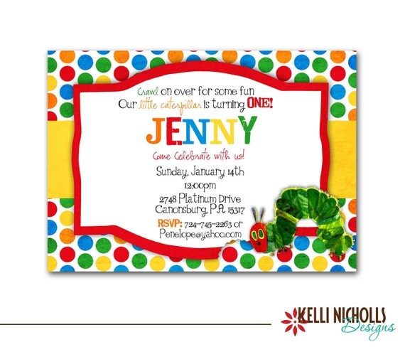 Very Hungry Caterpillar Invitation CUSTOM FOR JACKIE