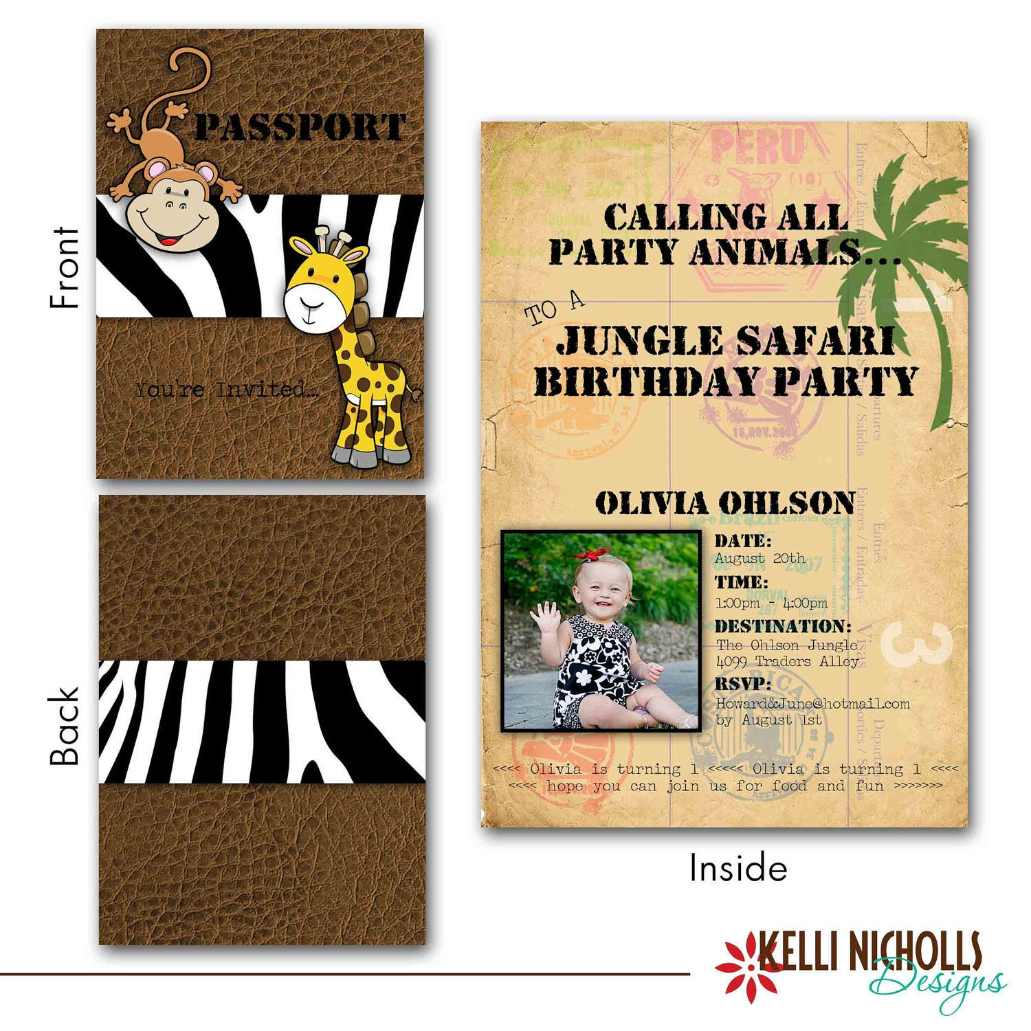 Jungle Safari Passport Birthday Invitation CUSTOM FOR Sona