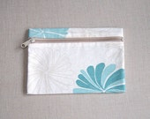 Small Zipper Canvas Pouch - Blue Flowers