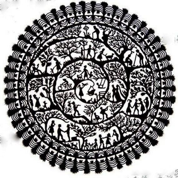 Handmade Papercut - in black - Life  Cirlcle