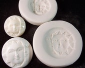 Crescent Moon & Sun Face Awake Set - Hard Polymer Clay mold for use with clay