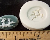 Small Leaping Deer Cameo 18x25mm  - Hard Polymer Clay mold for use with clay