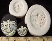 Dragonfly on Lotus Flower Cameo 30x40mm and small  - Hard Polymer Clay mold for use with clay