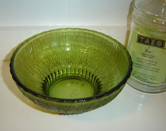 Vintage 1970s Avocado Green Glass Dish