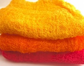 Hand Dyed Cheesecloth Set of 3 Pink Orange Yellow